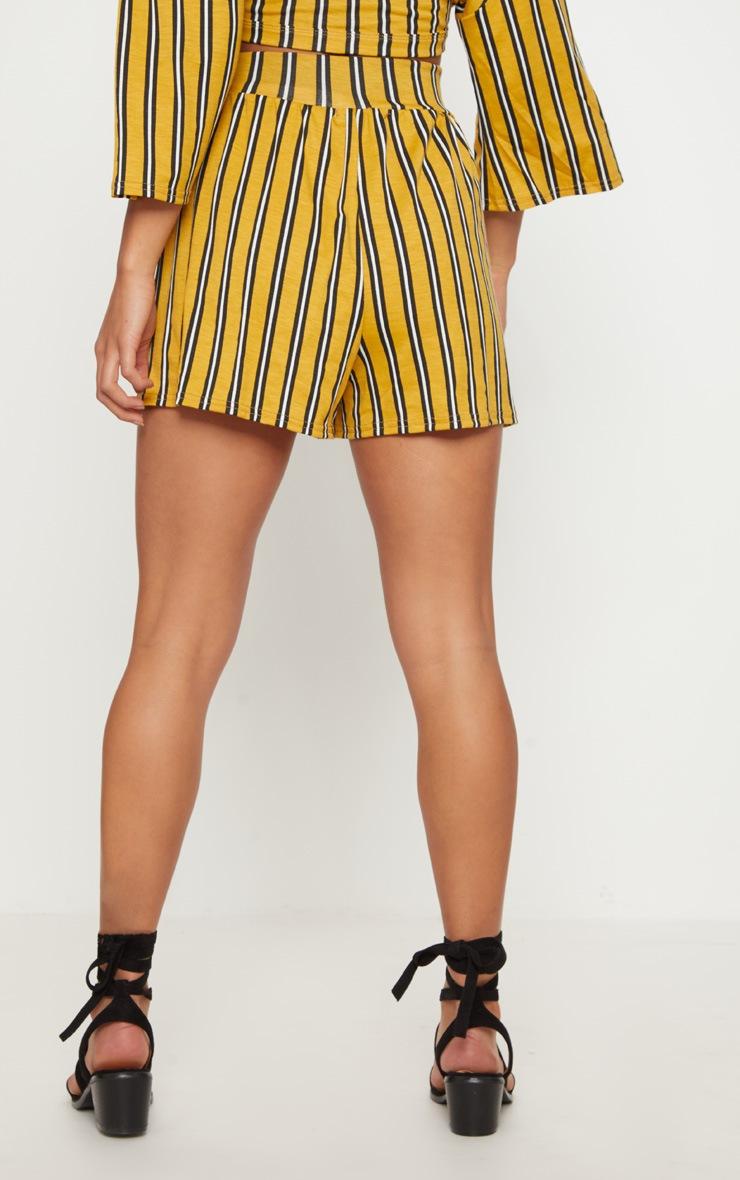 Petite Mustard Striped Shorts 4