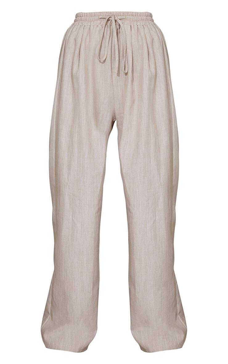 Stone Casual Linen Feel Wide Leg Trousers 5