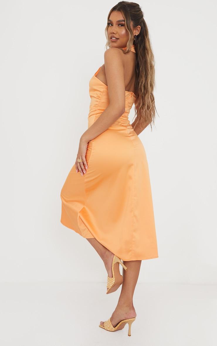 Tangerine Satin Halterneck Ruched Cut Out Midi Dress 2
