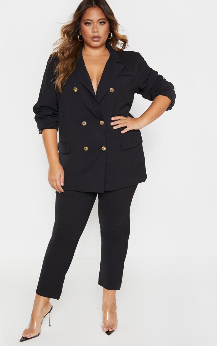 Plus Black Tailored Woven Blazer 4