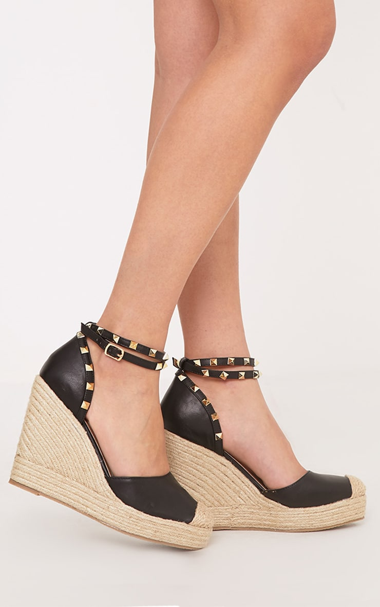 Keyla Black Studded Espadrille Wedges 1