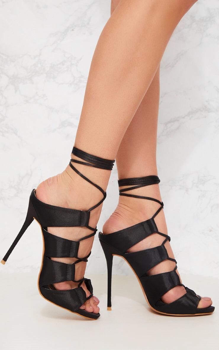 04165c53856 Black Lace Up Mule Heeled Sandal image 1