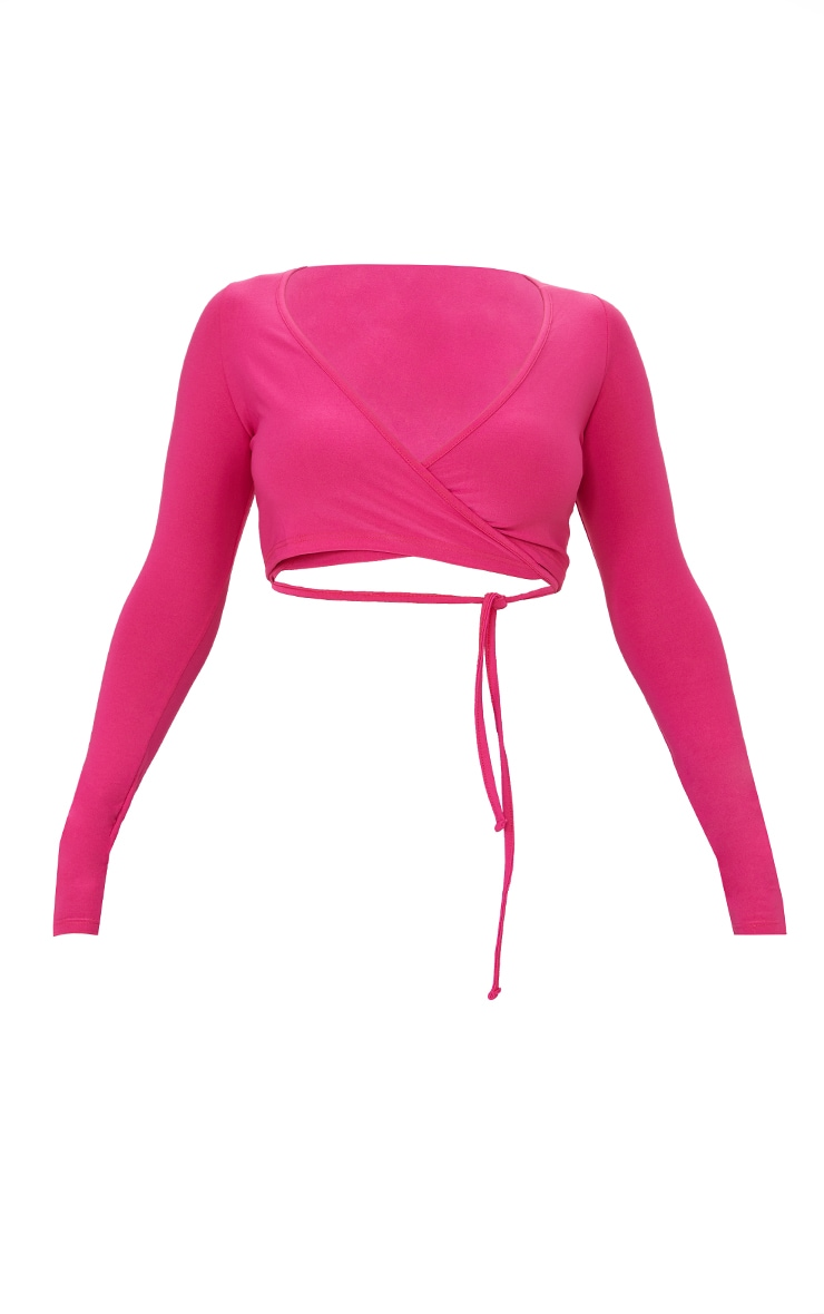 Hot Pink Slinky Tie Waist Strap Long Sleeve Crop Top 5