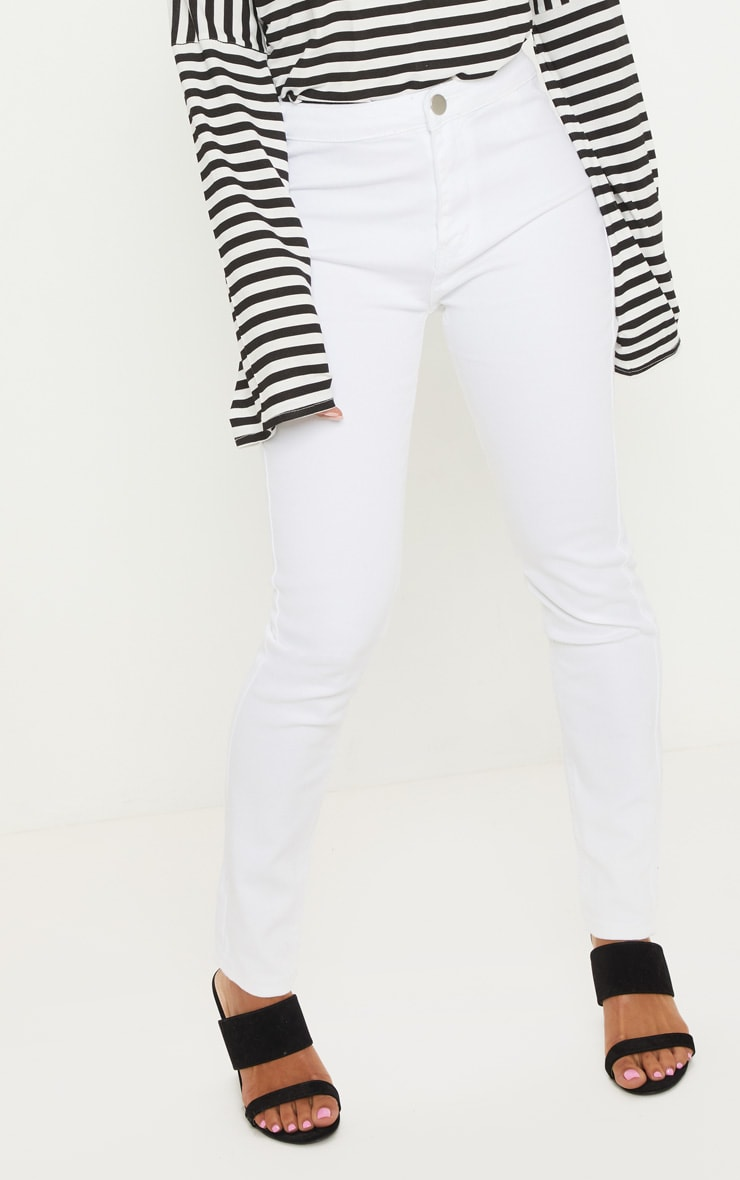 Petite White High Rise Skinny Jeans  2