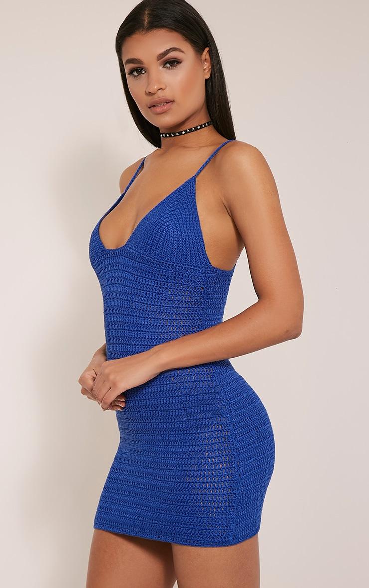 Rosally Cobalt Crochet Mini Dress 8