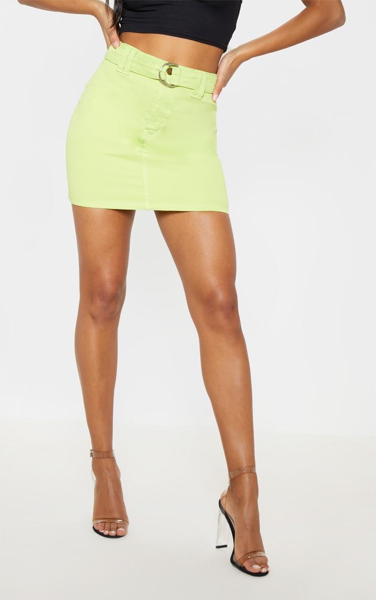 Jupe en jean vert citron à ceinture à anneau 2