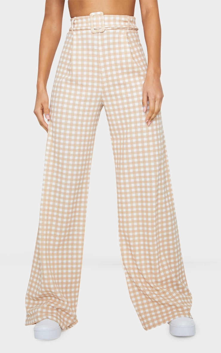 Stone Gingham Belted Wide Leg Trousers 2