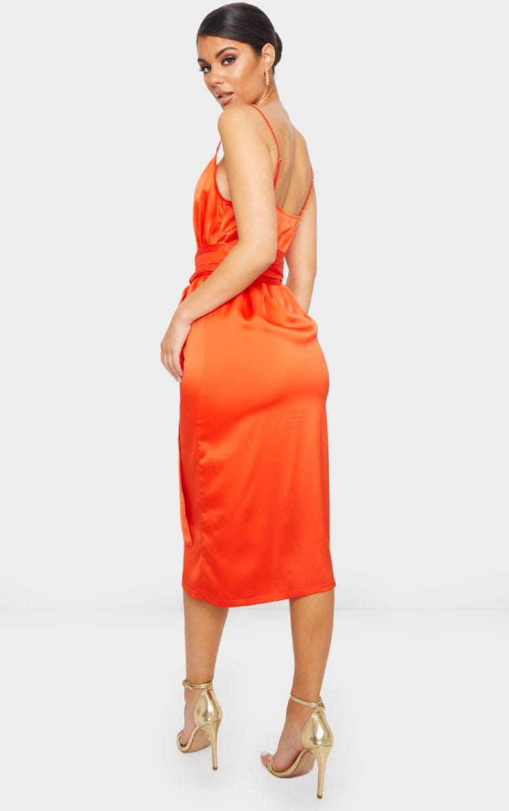 Bright Orange Tie Waist Midi Slip Dress 2