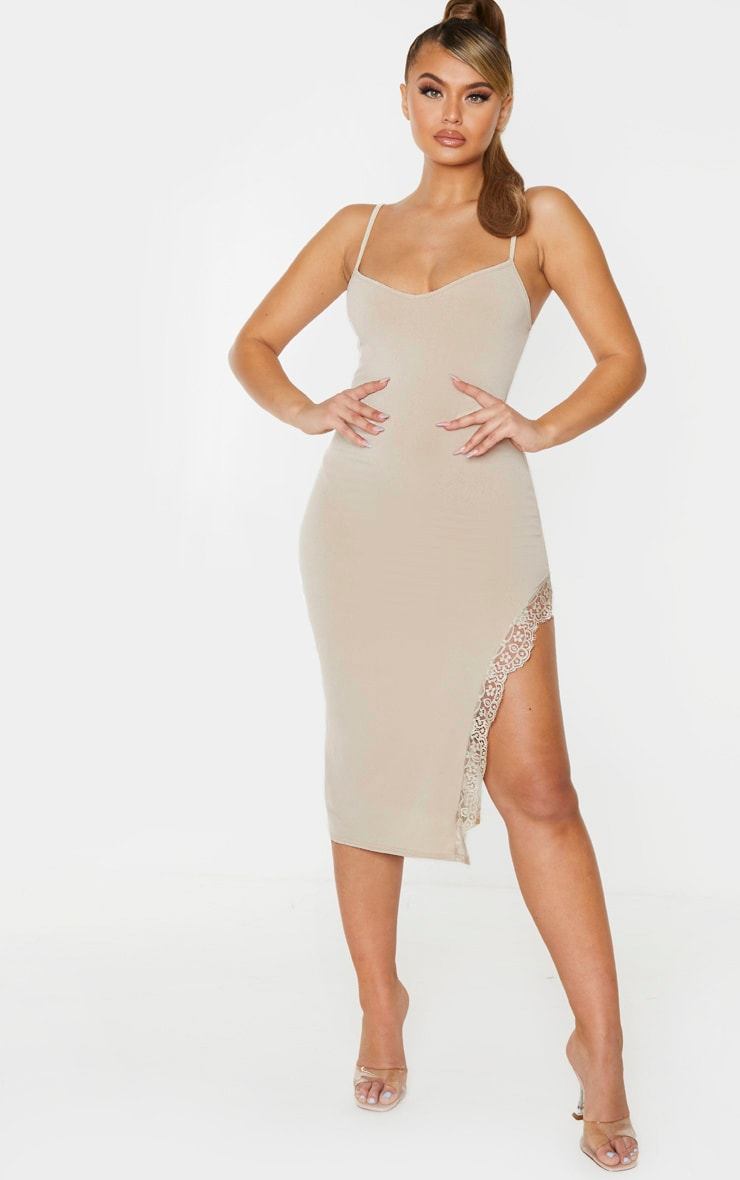 Stone Strappy Lace Trim Split Midi Dress 1
