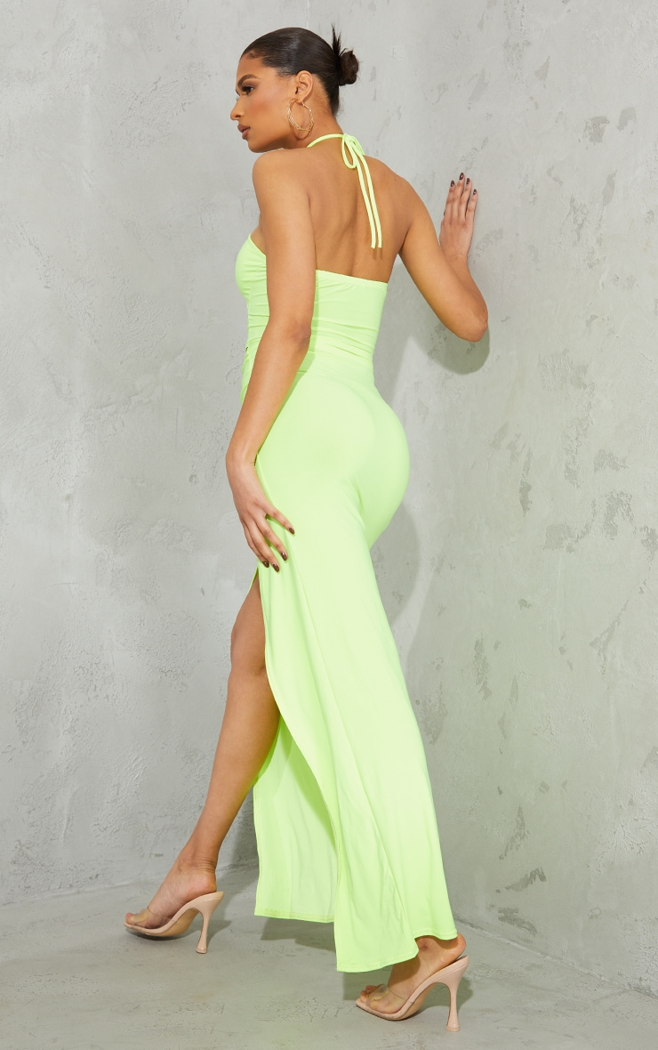 Lime Slinky Ring Detail Cut Out Halterneck Maxi Dress 2