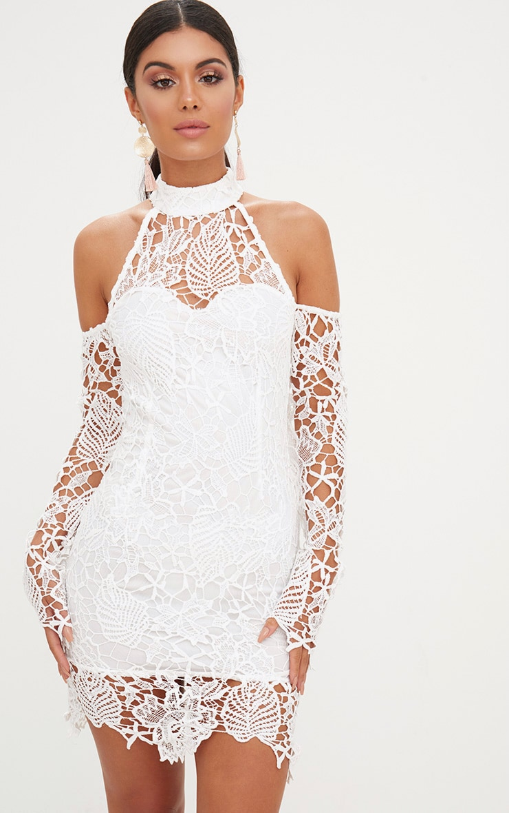 White High Neck Cold Shoulder Lace Bodycon Dress 1