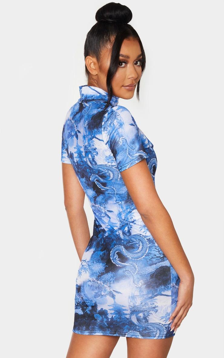 Robe moulante découpée bleue imprimée asiatique à manches courtes et col montant 2