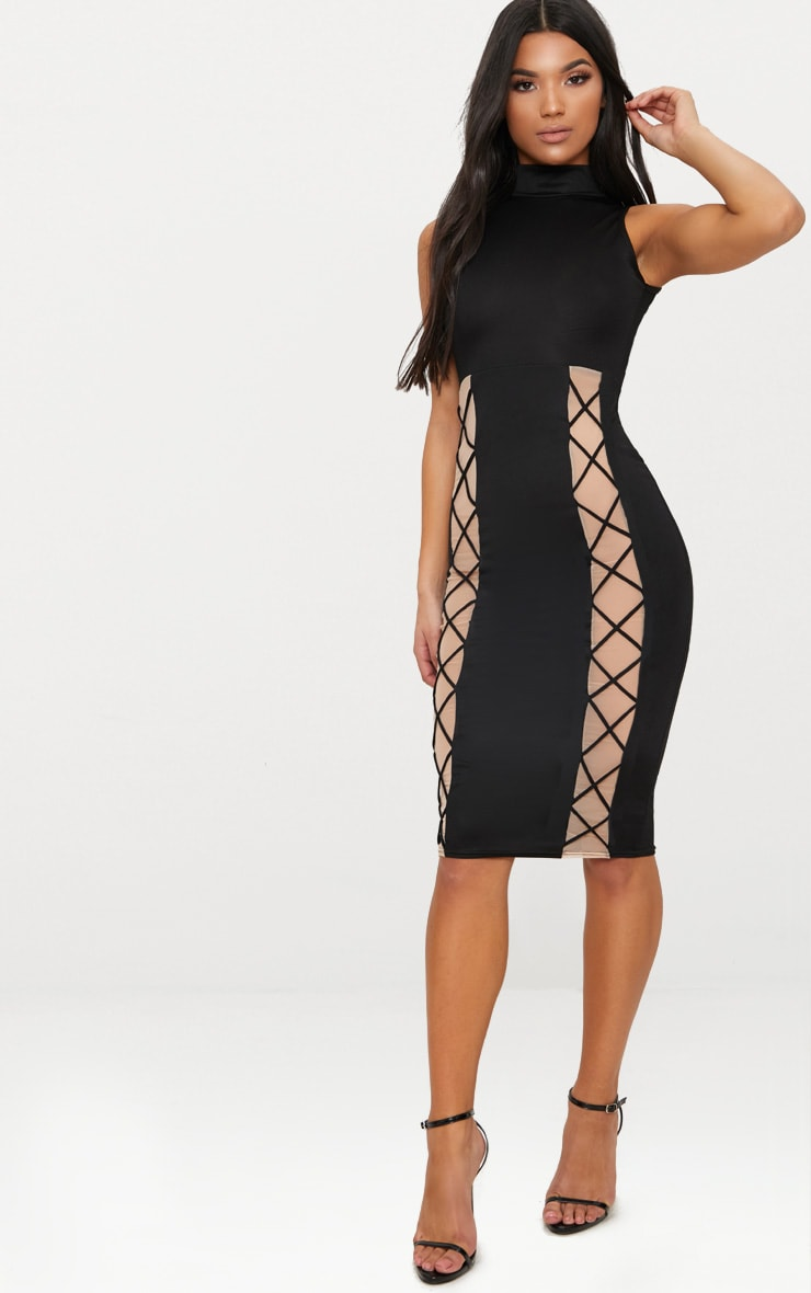 Black High Neck Lace Up Detail Midi Dress 1