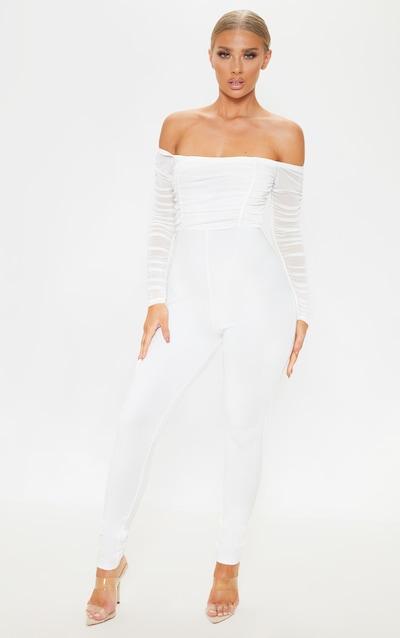 White Mesh Bardot Long Sleeve Jumpsuit