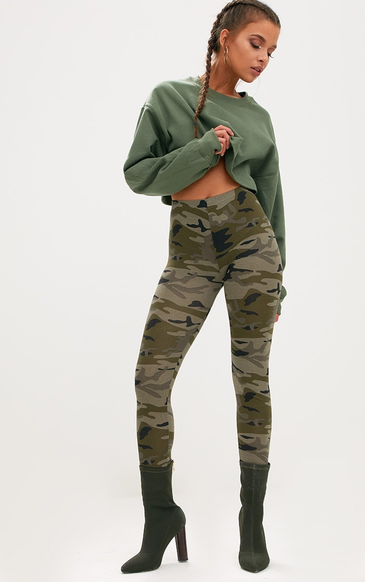 Khaki Camo Print Leggings
