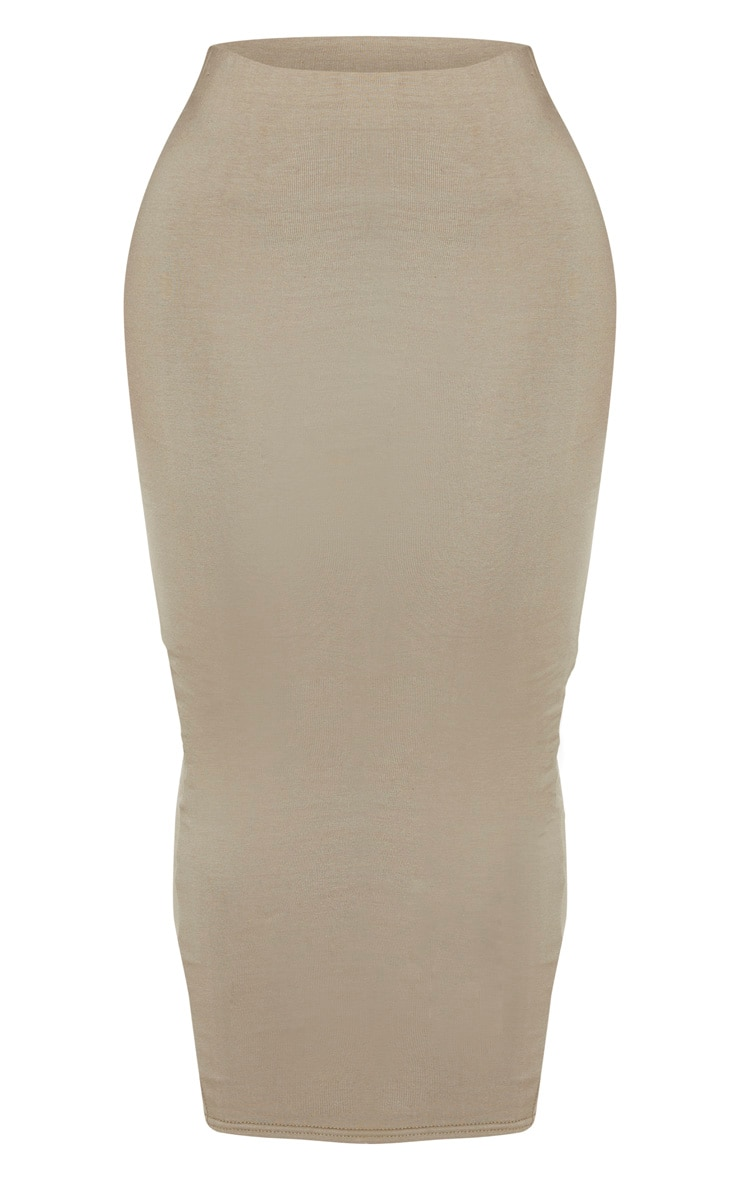 Shape Khaki Cotton High Waist Midaxi Skirt 3