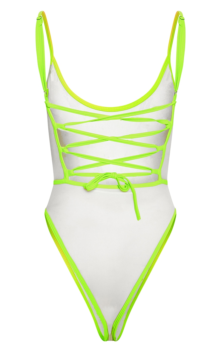 Neon Lime Lace Back Jewelled Swimsuit 4