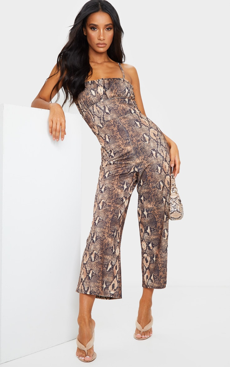 Tan Snake Print Ruched Bust Strappy Culotte Jumpsuit 1