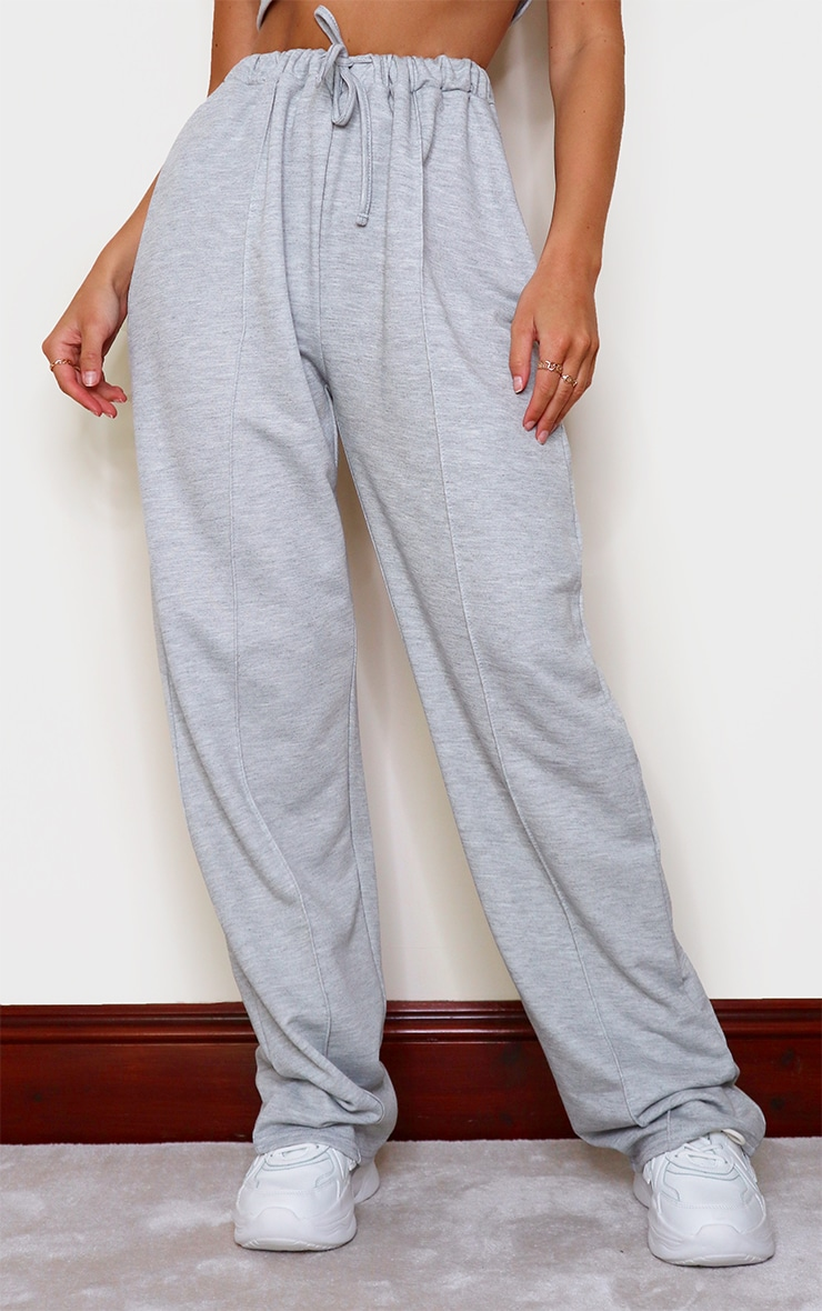 Grey Marl High Waist Seam Detail Wide Leg Joggers 2