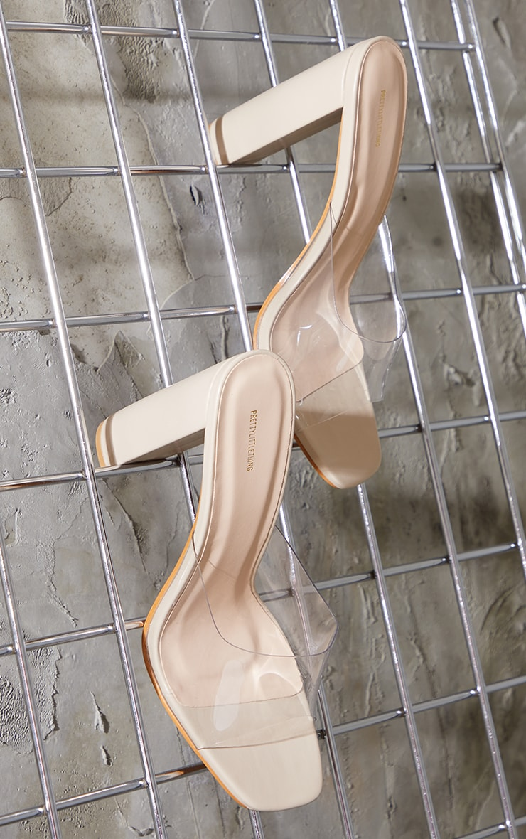 Nude Clear Strap High Block Heel Mules 3