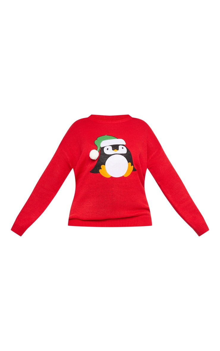 Plus Red Penguin Pom Pom Sweater 4