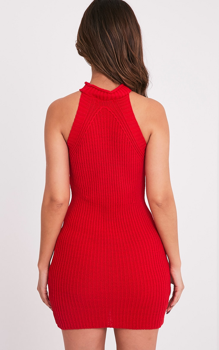 Nadalae Red Knitted High Neck Sleeveless Mini Dress 2