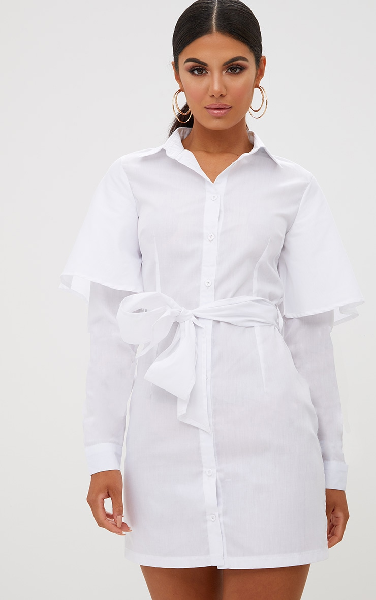 White Double Cuff Tie Waist Shirt Dress 1