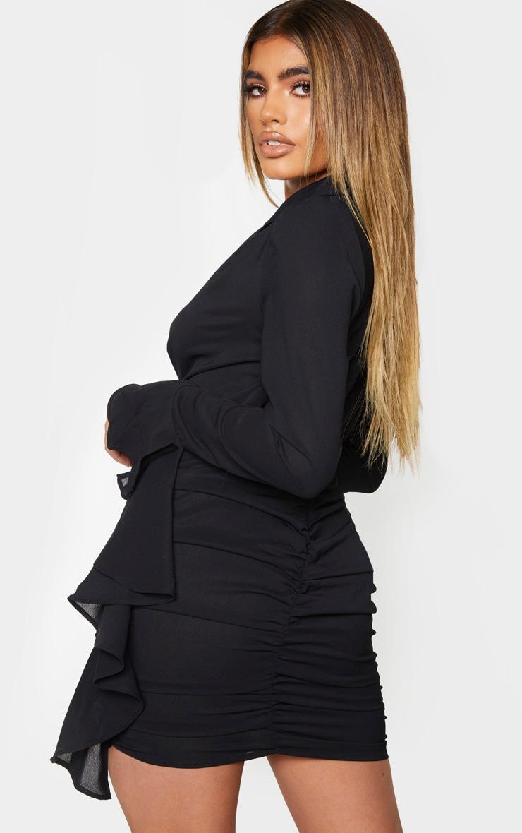 Black Blazer Style Ruched Frill Bodycon Dress 2