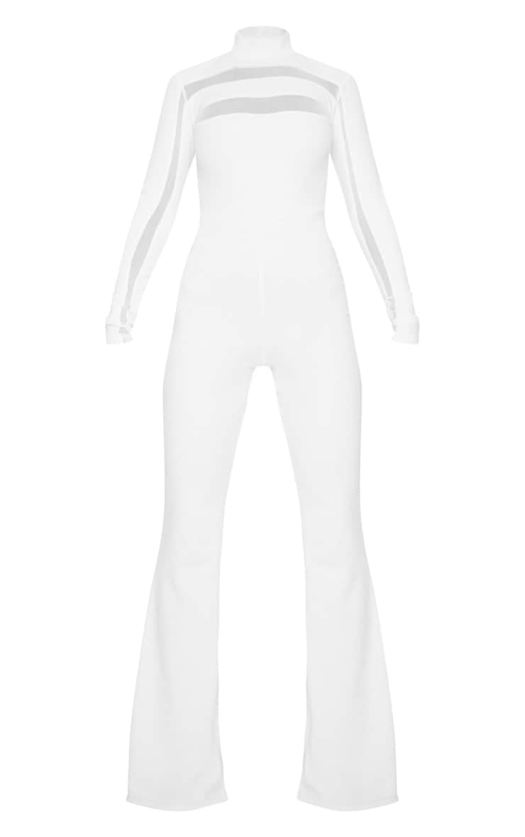 White High Neck Mesh Insert Long Sleeve Jumpsuit 3