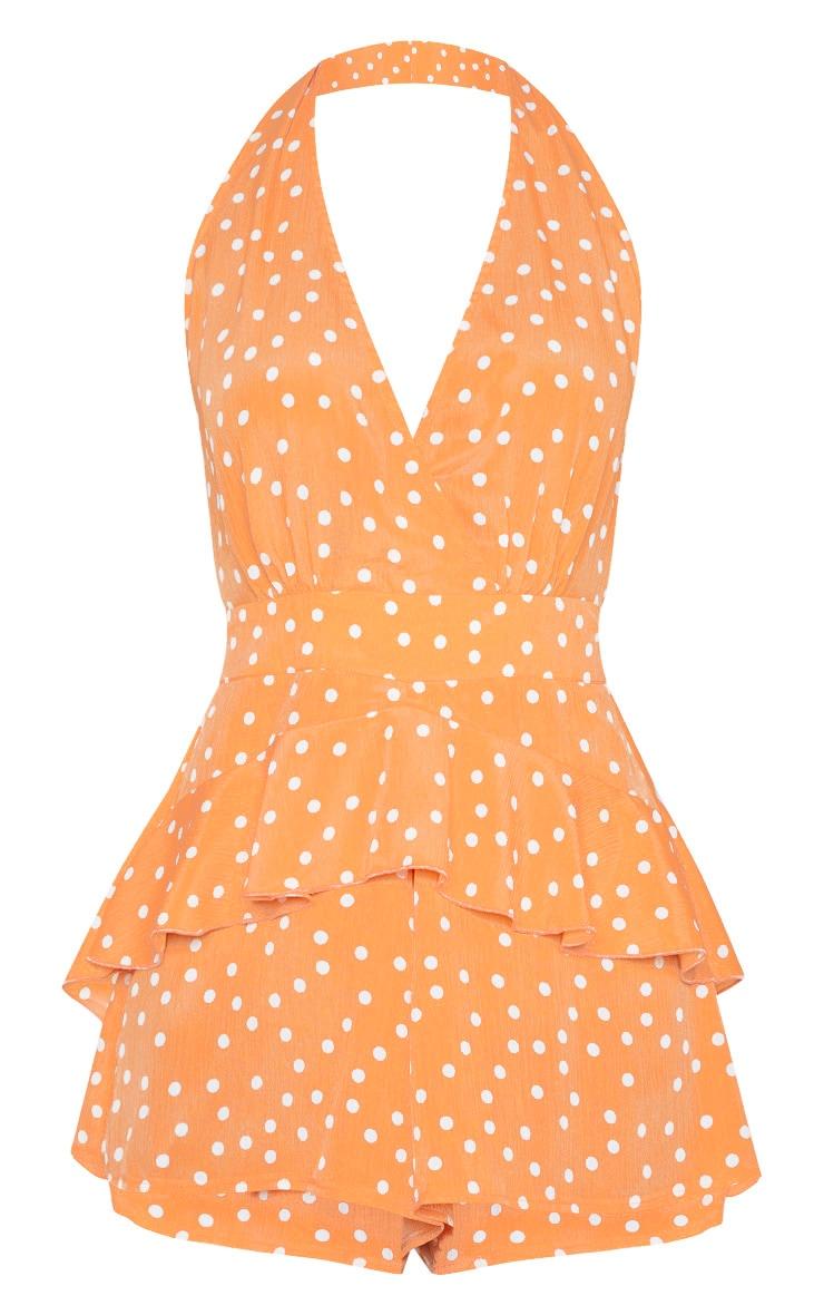 Tangerine Halterneck Polka Dot Playsuit 3