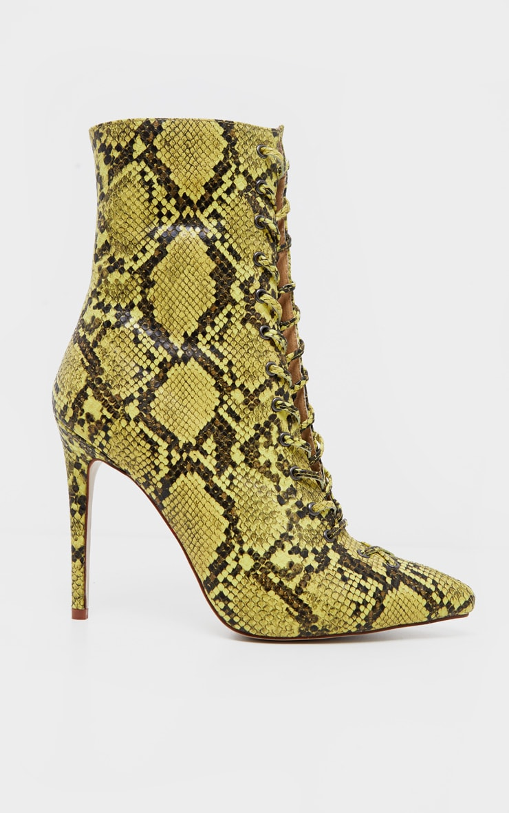 Lime Snake Lace Up High Point Ankle Boot 3