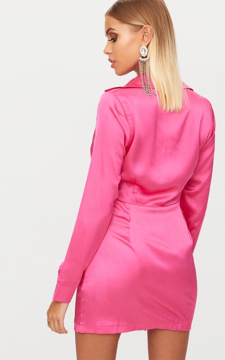 Hot Pink Frill Detail Shirt Dress 2