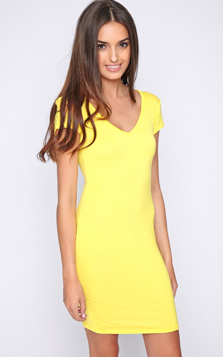 Finola Yellow Jersey V Neck Dress  1