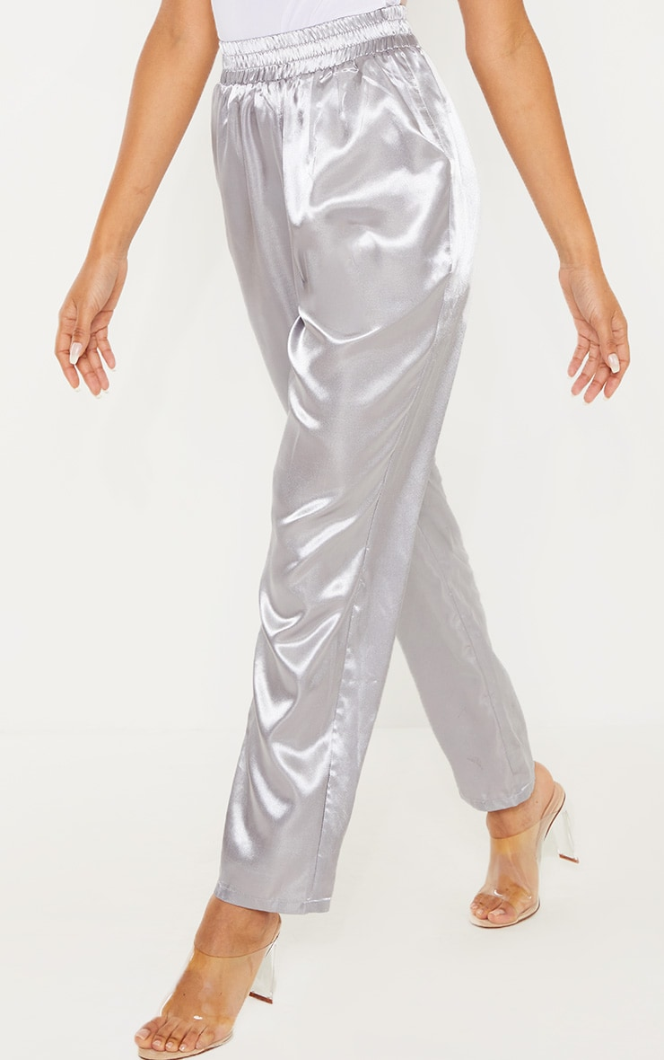 Silver Grey Satin Cigarette Casual Pants 2