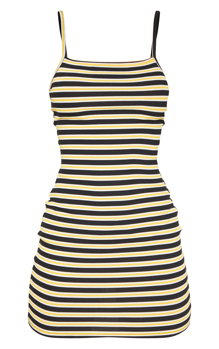 Yellow Stripe Ribbed Scoop Bodycon Dress 3