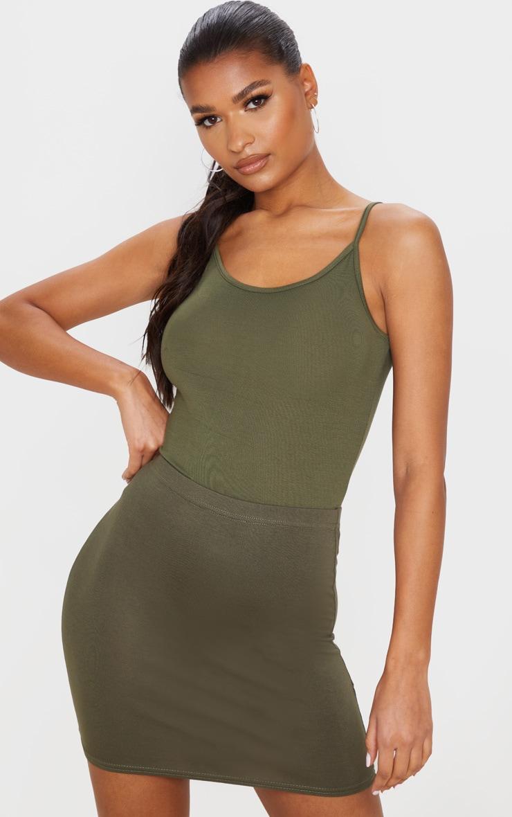 Basic Khaki Jersey Mini Skirt 4