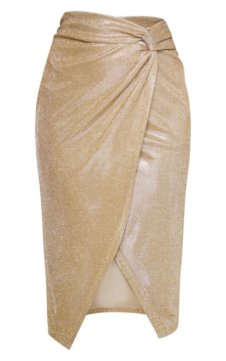 Gold Glitter Knot Front Midi Skirt 3