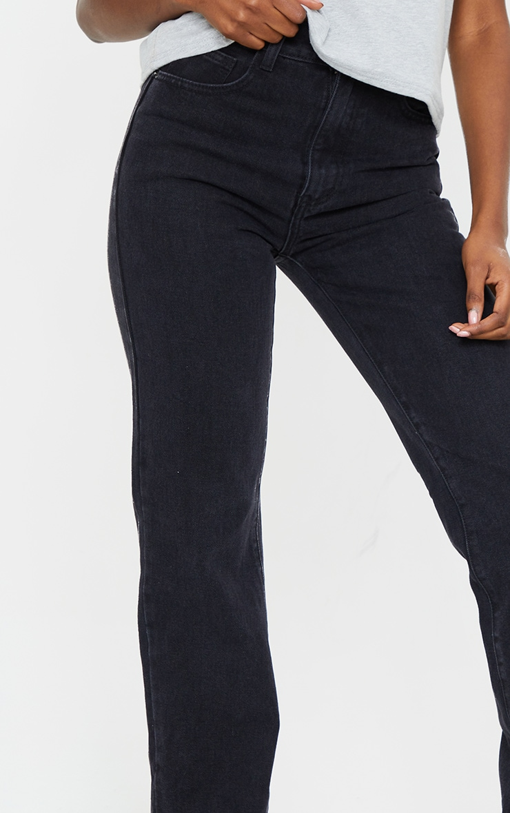 PRETTYLITTLETHING Tall Washed Black Long Leg Straight Jean 4