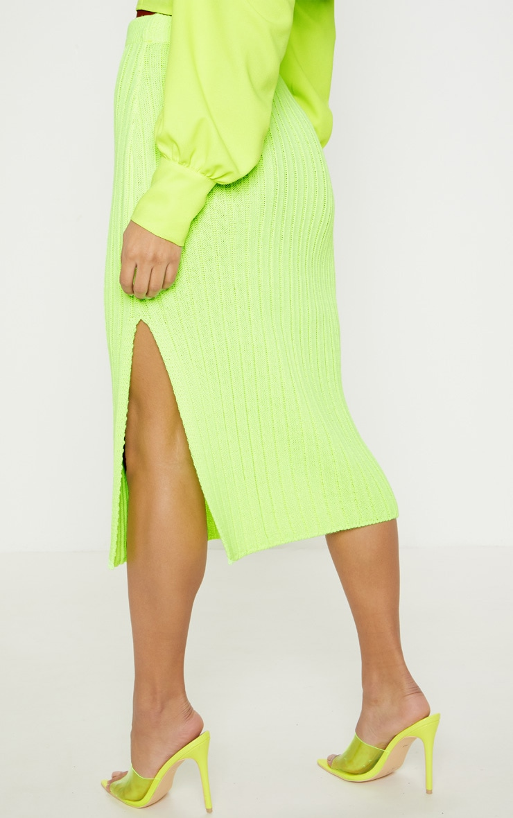 Neon Lime Knitted Ribbed Midi Skirt 4