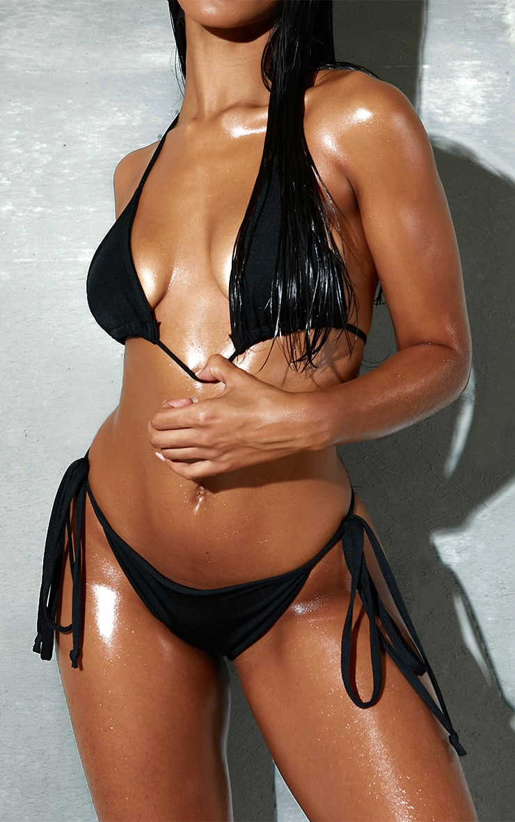 Black Mix & Match Adjustable Tie Side Bikini Bottom 1