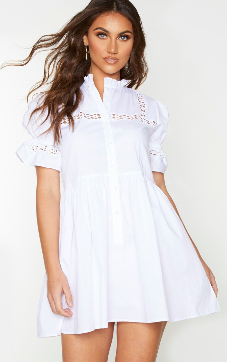White Button Front Puff Sleeve Poplin Hem Smock Dress 1