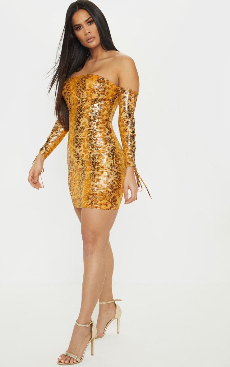 Bright Orange Metallic Snake Bardot Bodycon Dress 4