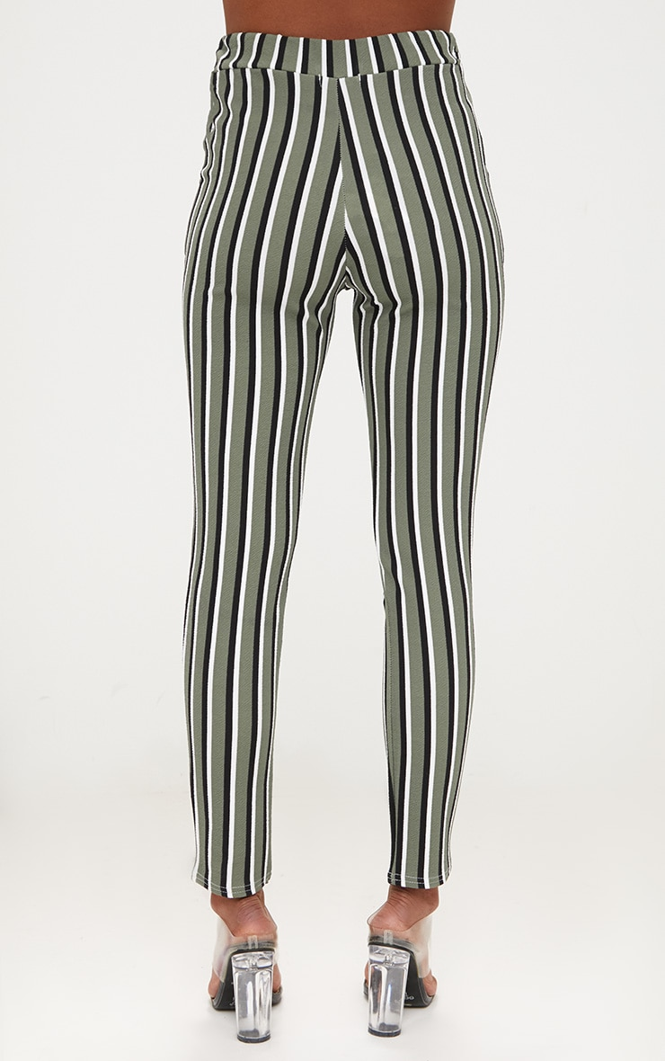 Khaki Vertical Stripe Skinny Trousers 4