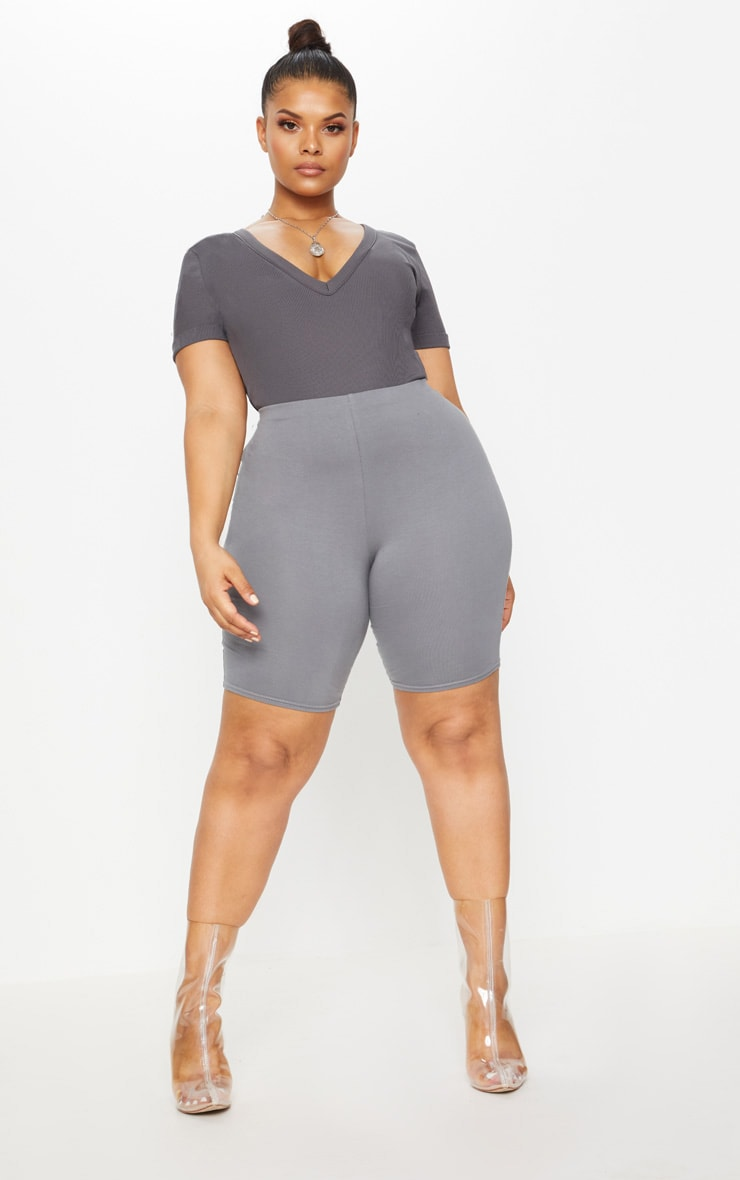 Plus Charcoal Ribbed Plunge Short Sleeve Bodysuit 1