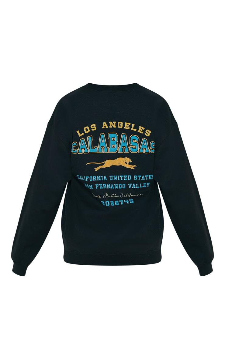 Black Calabasas Print Oversized Sweater 5