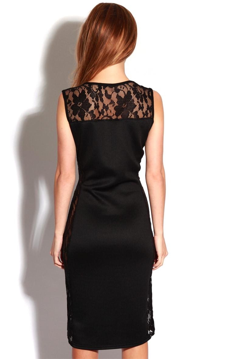Gabriel Black Lace Side Panel Bodycon Dress 2