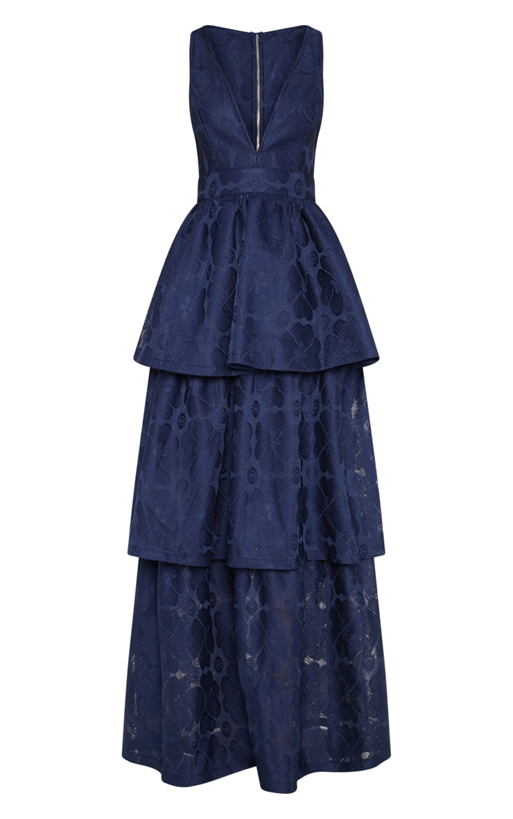 Navy Bonded Lace Tiered Maxi Dress 3