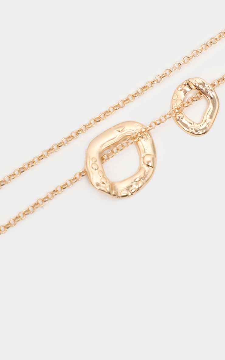 Gold Irregular Shape Mini Ring Double Layer Necklace 3