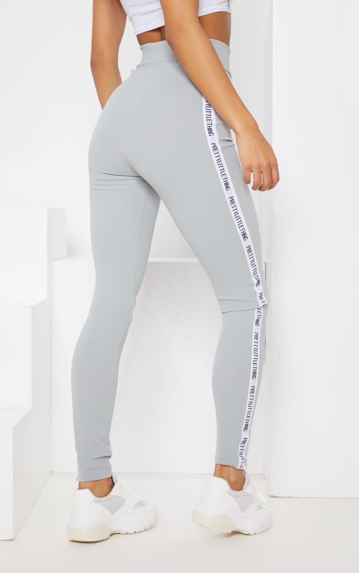 PRETTYLITTLETHING Grey Side Tape Leggings 5
