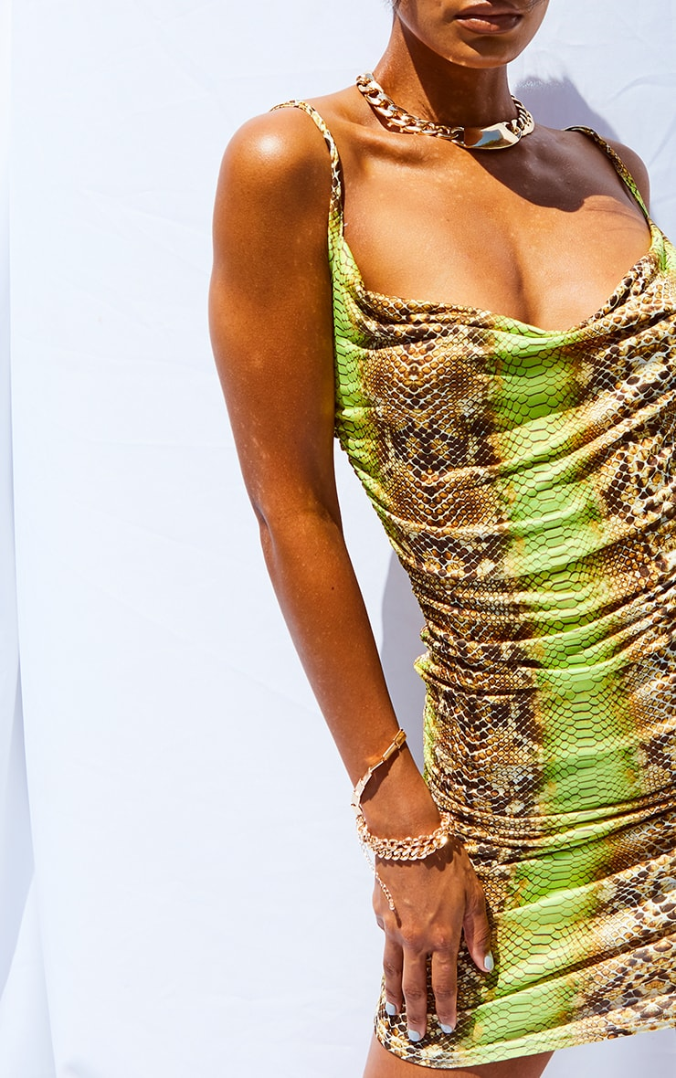 Tan Snake Print Strappy Ruched Bodycon Dress 4